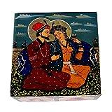Avinash Handicrafts Soap Stone Mugal Painted Jewellery Box (12.5cm X12.5cm X7.5cm)
