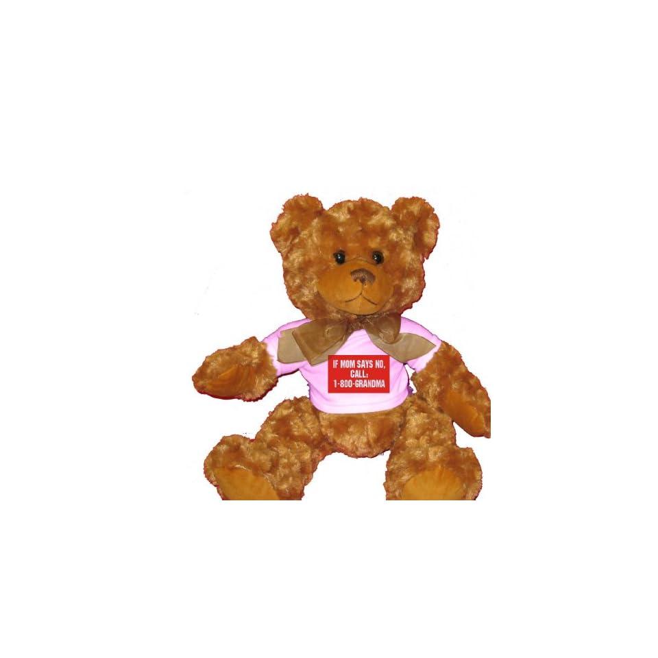 IF MOM SAYS NO, CALL 1 800 GRANDMA Plush Teddy Bear with WHITE T Shirt