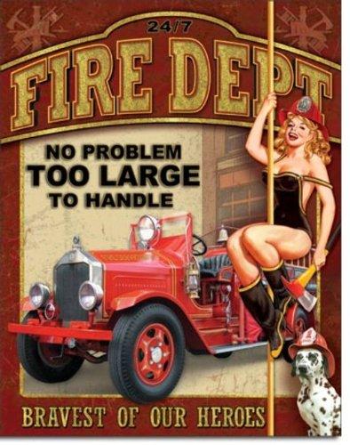 Fire Dept - No Problem Metal Tin Sign 16 X 12.5 блуза dept цвет сиреневый
