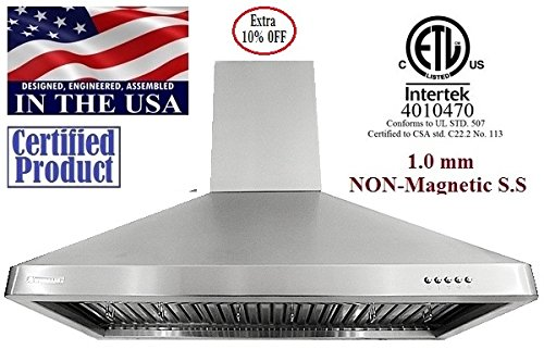 """Xtremeair Ultra Series Ul02-W30, 30"""" Wide, 900 Cfm, Led Lights, Baffle Filters W/ Grease Drain Tunnel, 1.0Mm Non-Magnetic Stainless Steel Seamless Body, Wall Mount Range Hood"""