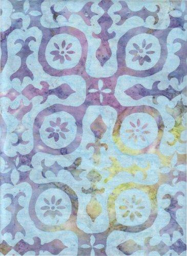 Purple Pomegranate Fruit Slices on Ocean Blue Batik Java Block Printed (Tjap Stamped) ~ HALF YARD ~ B2174 Sky Chameleon ~ Timeless Treasures Tonga Batik Java Watercolor Tie Dye (Ikat) Bali Batik Quilt Fabric 100% Cotton 45