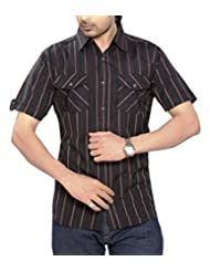 Moksh Black Slim Fit Cotton Shirt I0414MS02SS