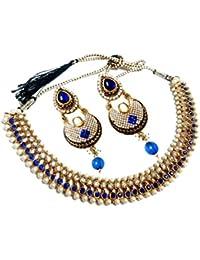 Glittering World Designer Blue Alloy Choker Necklace And Earrings For Women