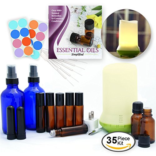 DIY Essential Oils Kit w/ Diffuser, 35-Piece Variety Set w/ Empty Bottles, Guide & Ultrasonic Mist Diffuser - great gift or starter set for blending, works w/ all essential oil lines for Aromatherapy
