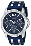 GUESS[ゲス] MODEL NO.u0366g2 Men's U0366G2 Iconic Blue Watch with Silicone Strap & Silver-Tone Interlinks シルバー×ブルーシリコンバンド メンズ 腕時計[並行輸入品]