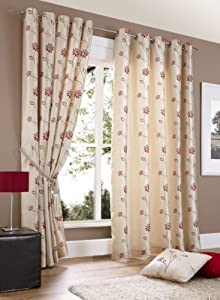 CHELSEA CREAM FLORAL 66x90 FULLY LINED RING TOP CURTAINS #LLIHGNITTON *AS* by PCJ Supplies