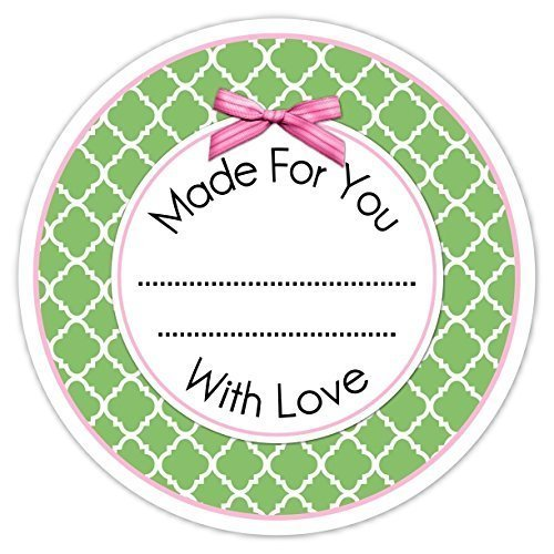 Green and Pink Quatre Foil Made For You Stickers, 36 Kitchen Labels, Homemade From the Kitchen Labels (Custom Canning Labels compare prices)