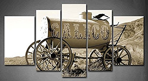 Flora Woods Painting 5 Panels Old Time Horse Drawn Water Wagon In The Hill Painting Picture Print On Canvas Car Pictures