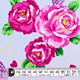 ローズガーデンの夢 ラミネート(厚み0.2mm)生地 花柄 ハンドメイド 手作り用生地 0.5m単位でご注文いただけます。 T0207R00