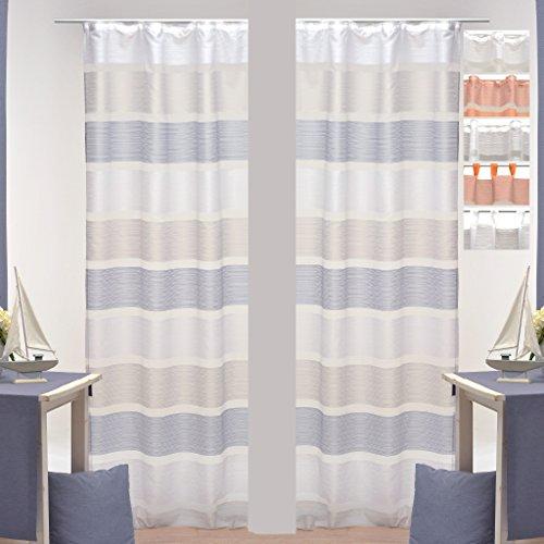 Dekoschal-Daisy-halbtransparent-2er-Pack-Auswahl-Universalband-140x-245cm-blau-grau-wei-gestreift-Gardine-Vorhang