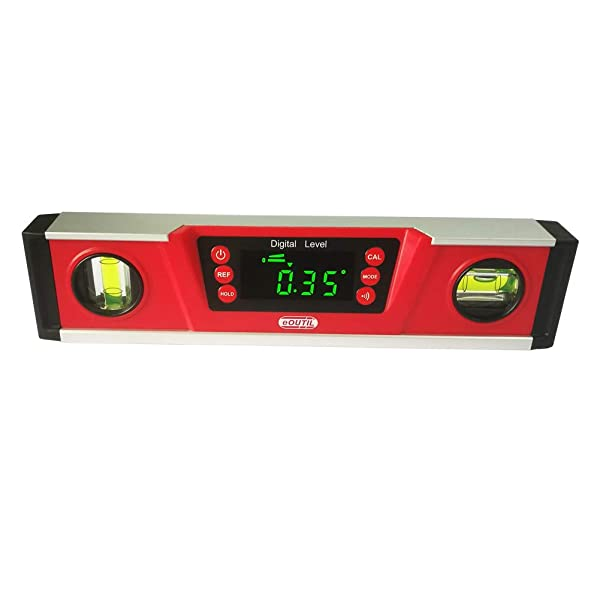 Digital Level and Protractor - eOUTIL 10 Inch IP54 Protected Electronic Bubble Inclinometer/Angle Finder/Gauge with Large LED Display & Magnetized V-Groove Base - Batteries and Carrying Bag Included