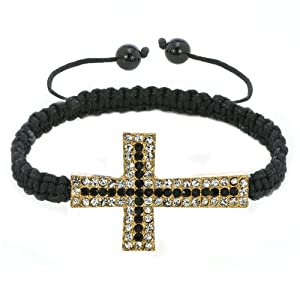 Pugster Black Lace Style Silver Iced Out Classic Black Crystal Sideways Cross Macrame Adjustable Bracelet