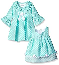 Bonnie Baby Baby-Girls Check Dress and Coat Set, Aqua, 0-3