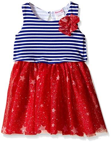 Nannette Little Girls Knit Popover Dress with Mesh Skirt, Red/White/Blue, 4T