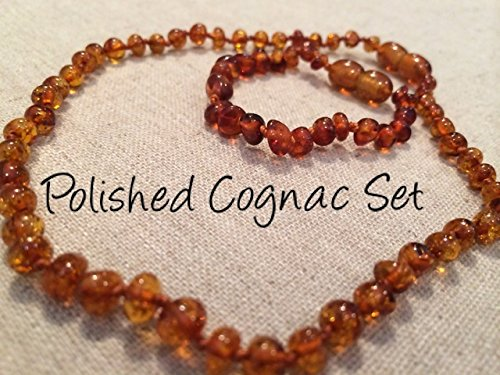 Baltic Amber Teething Necklace For Babies And Toddlers Polished Cognac Set front-710805