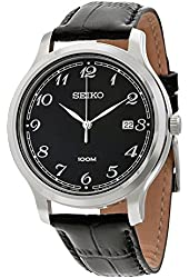 Seiko SUR189 Men's Stainless Steel Black Leather Band Black Dial Watch
