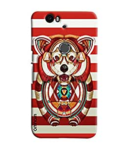 Omnam Wolf Printed On Red And White Stripes Printed Designer Back Cover Case For Google Nexus 6P