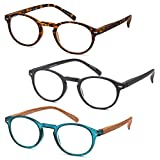 GAMMA RAY READERS Multiple Pairs of P3 Style Retro Round Readers Quality Spring Hinge Reading Glasses for Men and Women - With +1.50 Magnification