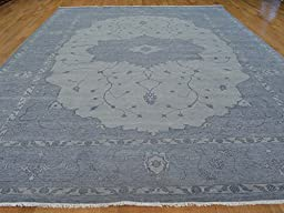 10 x 14 HAND KNOTTED OVERDYED SILVER BLUE SERAPI HERIZ ORIENTAL RUG G21438