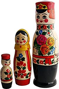 """Nesting Matryoshka Dolls - Russian Family in Traditional Peasant Costumes - 3 pc Set - Hand painted Stacking Toy - Original Wedding Gift - 8"""" Tall"""