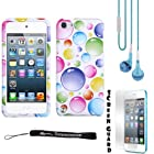 Colorful Bubbles 2 piece Cover Shield Protector Case For Apple iPod Touch 5 ( 5th Generation) 32GB, 64GB + BLUE Crystal Clear High Quality HD Noise Filter Handsfree Earbuds ( 3.5mm Jack ) + Anti Glare Screen Protector Guard + an eBigValue Determination Hand Strap