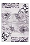 Lalee 347248551 Schöner klassischer Designer Teppich mit Ornamenten melliert, 160 x 230 cm, violet / creme