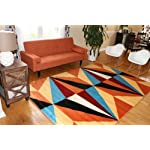 Feraghan/New City Shapes Geometric Contemporary Modern Area Rug, 7 x 10, Yellow/Orange/Blue