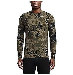 Nike Men\'s Pro Hyperwarm Ambush Crew Fitted Training Shirt-Green Camo-Large