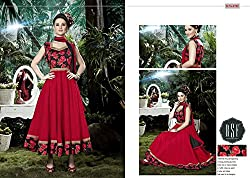Anasha Fashions Women's Cotton Silk Semi Stitched Dress Material (SEM-RSF-MEMSAB-VOL4-8702_Red_Free Size)