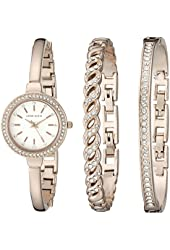 Anne Klein Women's AK/2046RGST Swarovski Crystal Accented Rose Gold-Tone Bangle Watch and Bracelet Set