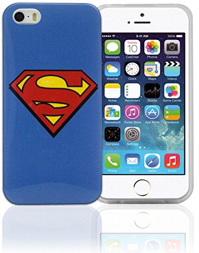 Phonix IP5WB2 DC Comics Custodia Originale con Superman Logo e Pellicola Proteggi Schermo per Apple iPhone 5 e 5S, Multicolore