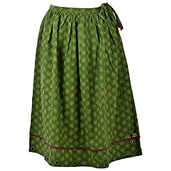 Beautiful Clothes Green Stylish Skirt Cotton Skirt For Women (BCA 2070)