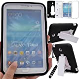 GLITZY GIZMOS BLACK SHOCK PROOF BUILDERS HEAVY DUTY TOUGH CASE COVER FOR SAMSUNG GALAXY TAB 3 7.0 inch (P3200 / P3210 / SM-T210 / SM-T211 / SM-T215) LTE WIFI 7