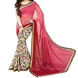 Pramukh saris Womens Georgette Printed Sari(Red,Pink)