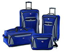 American Tourister Fieldbrook II 4 Piece Set Boarding Bag, Blue/Grey, One Size
