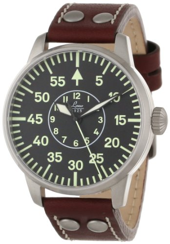 Laco 1925 Men's Automatic Watch with Black Dial Analogue Display and Brown Leather Strap 861690