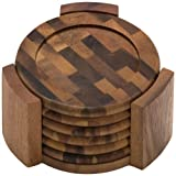 Lipper International Coasters, Acacia, Set of 6