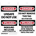 "NMC RPT154 ""DANGER - UNSAFE DO NOT USE"" Bilingual Accident Prevention Tag, Unrippable Vinyl, 3"" Length, 6"" Height, Black/Red on White (Pack of 25)"