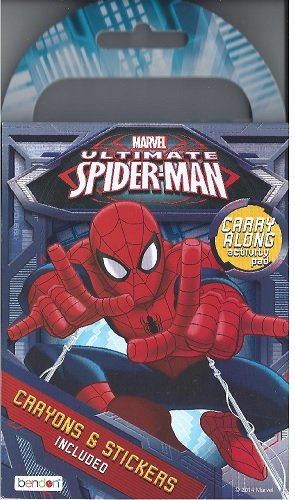 Marvel Ultimate Spider-Man Carry Along Activity Pad for Travel or Trips (Crayons & Stickers Included)