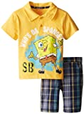 Nickelodeon Little Boys' SpongeBob 2 Piece Plaid Short Set, Yellow, 2T