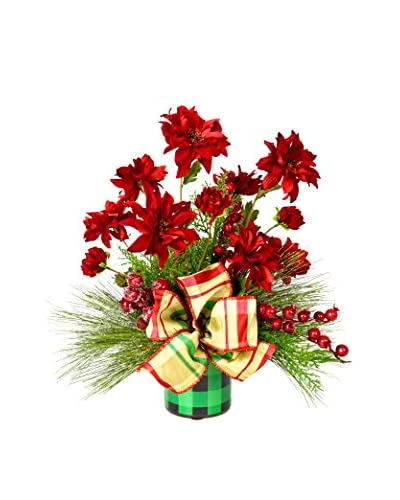 Creative Displays Red Zinnia Holiday Floral, Red/Green