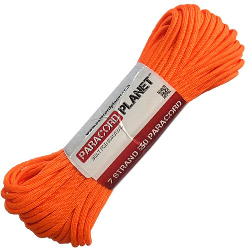 Paracord Planet® USA Made 550 Type III Paracord, 100 Feet - Now Selling Over 200 Parachute Cord Colors! (Neon Orange)