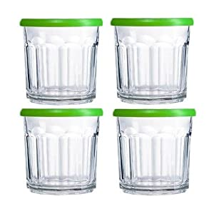 Luminarc Working Glass 4-Piece Storage Jar / Dof, Green Lid, 14-Ounce