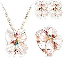 Comprar AnaZoz Joyería de Moda 18K Chapado en Oro Chapado en Oro Rosa Cristal Austria Esmalte Juego de Flor Pendiente/Collar/Anillo