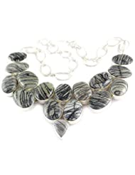925 Silver Black Miscellaneous Stone Necklace For Women US362