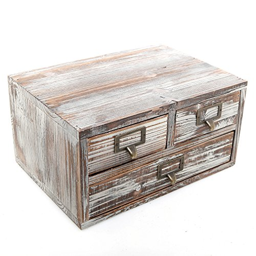Rustic Torched Finish Wood Office Storage Cabinet / Jewelry Organizer w/ 3 Drawers, Ash Brown - MyGift®