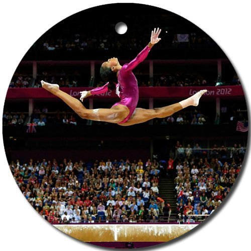 Gymnastics Ornament round porcelain Christmas Great Gift Idea by MYDply [並行輸入品]