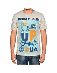 Being Muslim Grey Cotton T-shirt For Men - B00U29HEH6