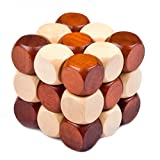 Lewo Wooden 3D Brain Teasers Cube Puzzles Soma Cube Games for Adults