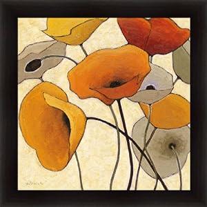 Pumpkin Poppies III by Shirley Novak Contemporary Orange Floral Wall Art Print Framed Décor